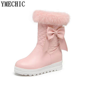 Short-Boot Ankle-Boots Pink Winter Wedge-Shoes Tassel Butterfly-Knot White Plus-Size