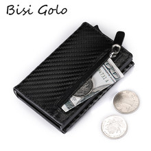 BISI GORO Credit Card Holder 2019 New Aluminum Box Card Wallet RFID PU Leather Pop Up Card Case Magnet Carbon Fiber Coin Purse(China)