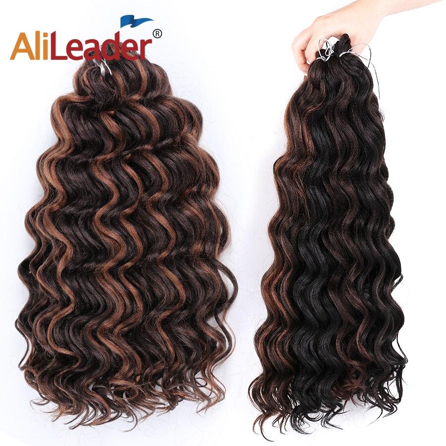 Leeons Freetress su dalga örgü saç tığ örgü uzantıları 9 / 20 inç okyanus dalga tığ saç Canecalon sentetik saç