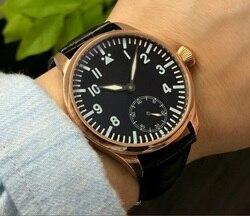 44mm Sapphire kryształ lub ze szkła mineralnego azjatyckich 6498 mechaniczna ręka wiatr ruch zegarek męski złota róża case luminous gr322-g8