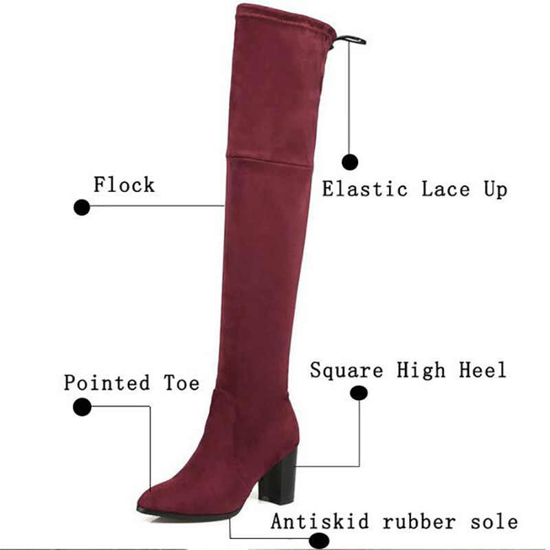 Kadınlar diz çizmeler üzerinde seksi elastik yüksek topuk kış uyluk yüksek ince çizmeler moda sivri burun streç dantel uzun çizmeler bayanlar