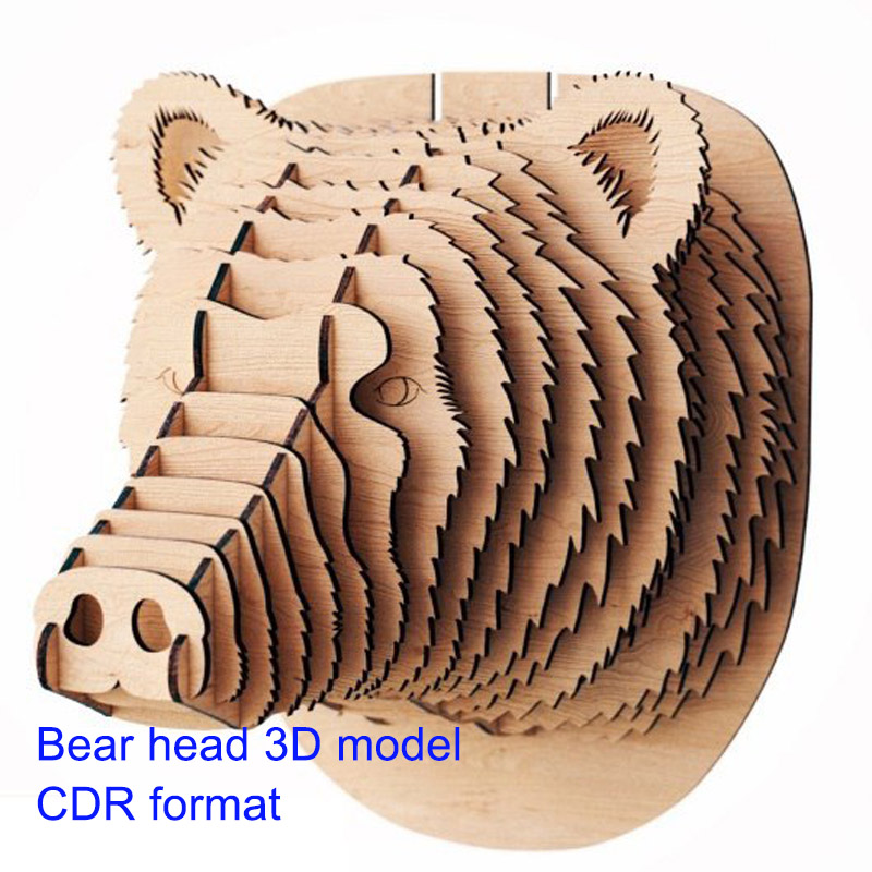 Polar Bear 3D Model CNC Laser Cutting File CDR Format File Vector Design Drawing