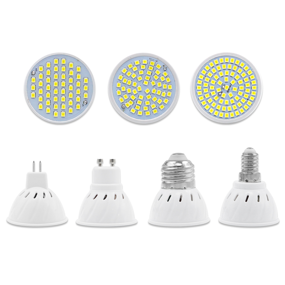 LED Spotlight bulb Lampada led lamp AC 220V SMD 2835 GU10 MR16 E27 E14 48leds 60leds 80leds for home Energy Saving Bombillas