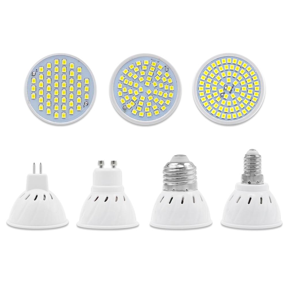 LED Spotlight Bulb Lampada Led Lamp AC 220V SMD 2835 GU10 MR16 E27 E14 48leds 60leds 80leds For Home Energy Saving Bombillas