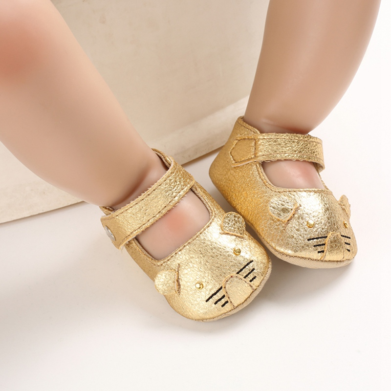 Cute Cat Newborn Baby Girl Princess Shoes Soft Sole Crib Buckle Strap Pu Leather Baby Gold Shoes