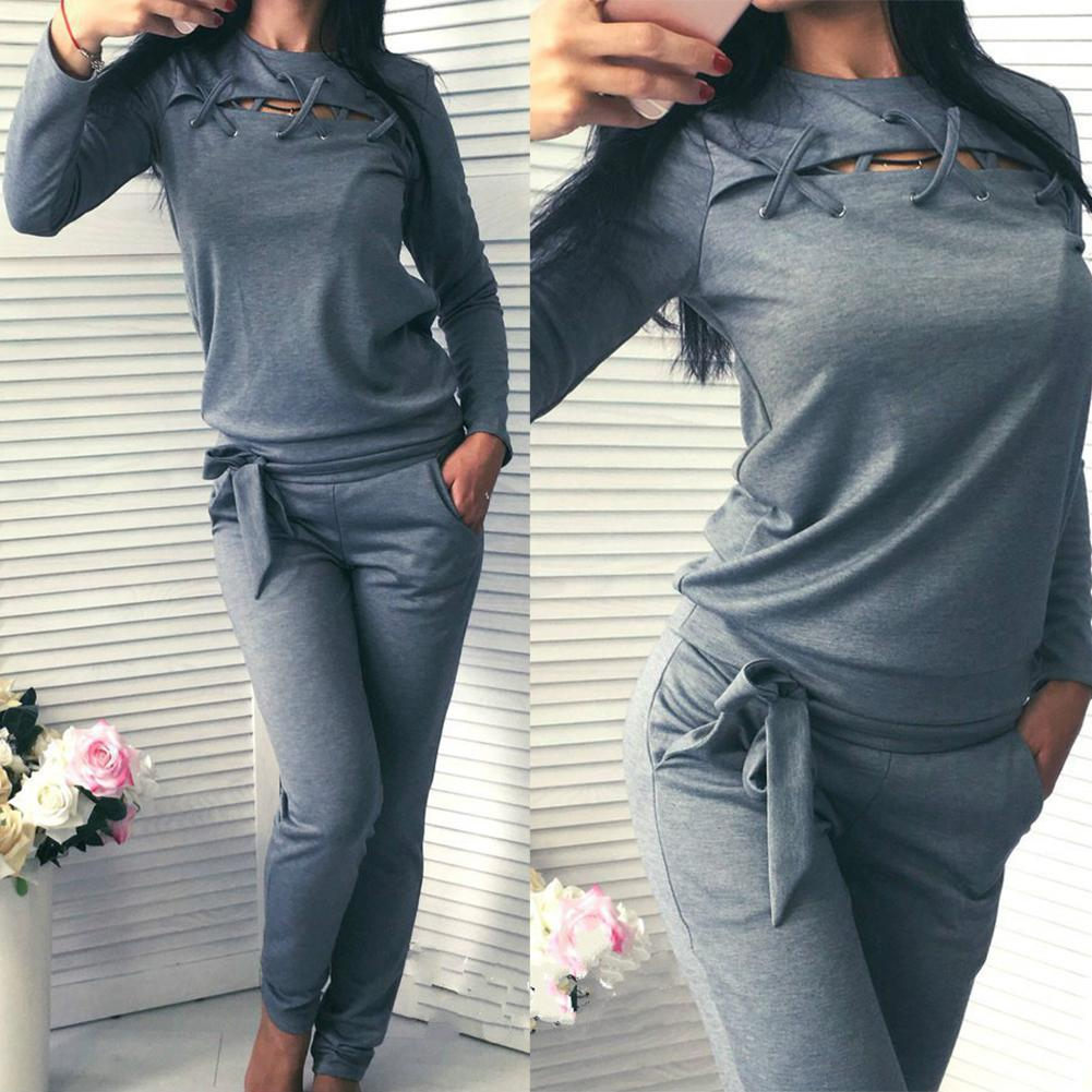New 2Pcs Women Tracksuit Cut Out Lace Up Sweatshirt Pants Solid Color Sport Outfit