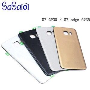 Image 1 - 10 unids/lote de reemplazo de cubierta trasera de cristal para Samsung galaxy S7 G930 / Edge G935, carcasa trasera, funda para puerta de batería con adhesivo