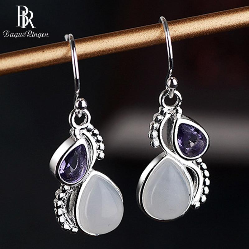 Bague Ringen Silver 925 Drop Earrings Jewelry With Amethyst Water Drop Shaped Gemstone Earrings For Women Wedding Party  Gift