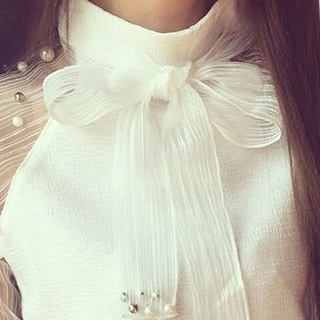 Women Style Bow Of Pearl White  Casual Chiffon Shirt Blouses Tops Tee Rk 3