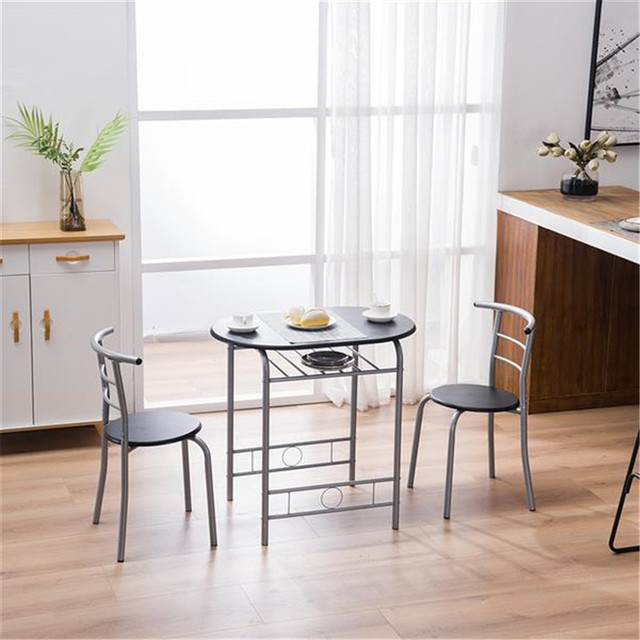 PVC Breakfast Table (One Table and Two Chairs) Black For Living Room Garden Kitchen Table Chairs Furniture 2
