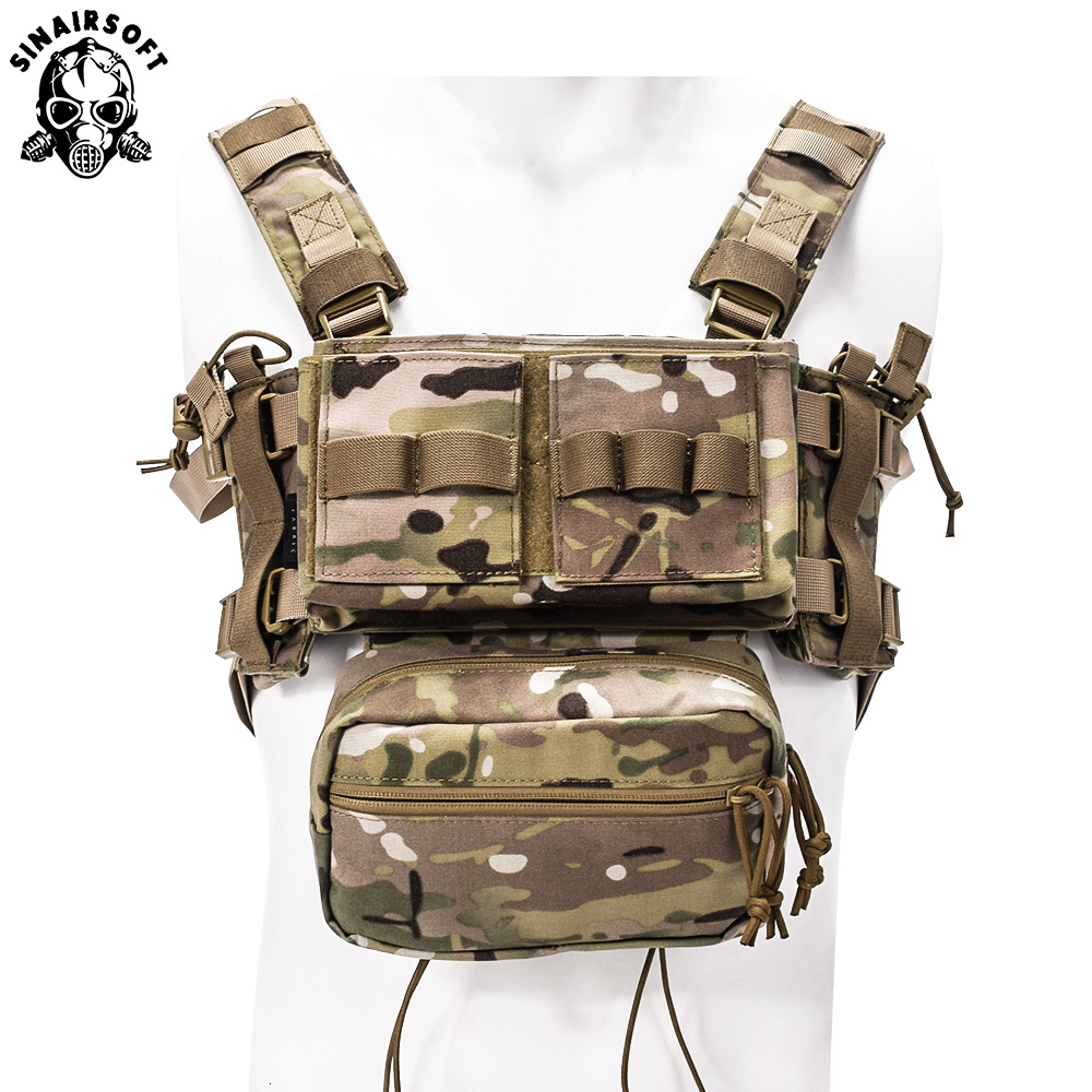 Tactical MK3 Modular Chest Rig Micro Fight Chissis Chest Rig Airsoft Hunting Combat Vest with 5.56 MOLLE Magazine Pouch Multicam|Hunting Vests| |  - title=