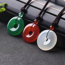 Натуральный многоцветный нефритовый пончик кулон агат ожерелье Модные аксессуары очаровательные ювелирные изделия Резные амулеты Подарки для женщин и мужчин
