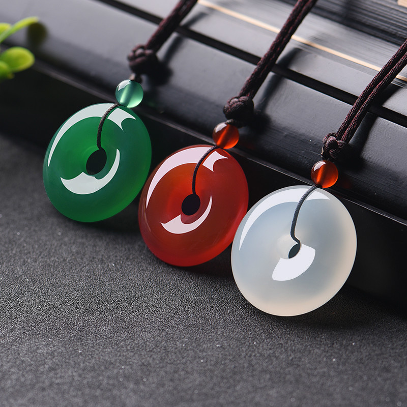 Natural Multicolor Jade Doughnut Pendant Agate Necklace Fashion Accessories Charm Jewellery Carved Amulet Gifts For Women Men