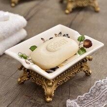 Vintage hogar de cerámica plato de jabón de Hotel decoración de estilo europeo de ducha de baño de caja de almacenamiento hogar DecorLF876