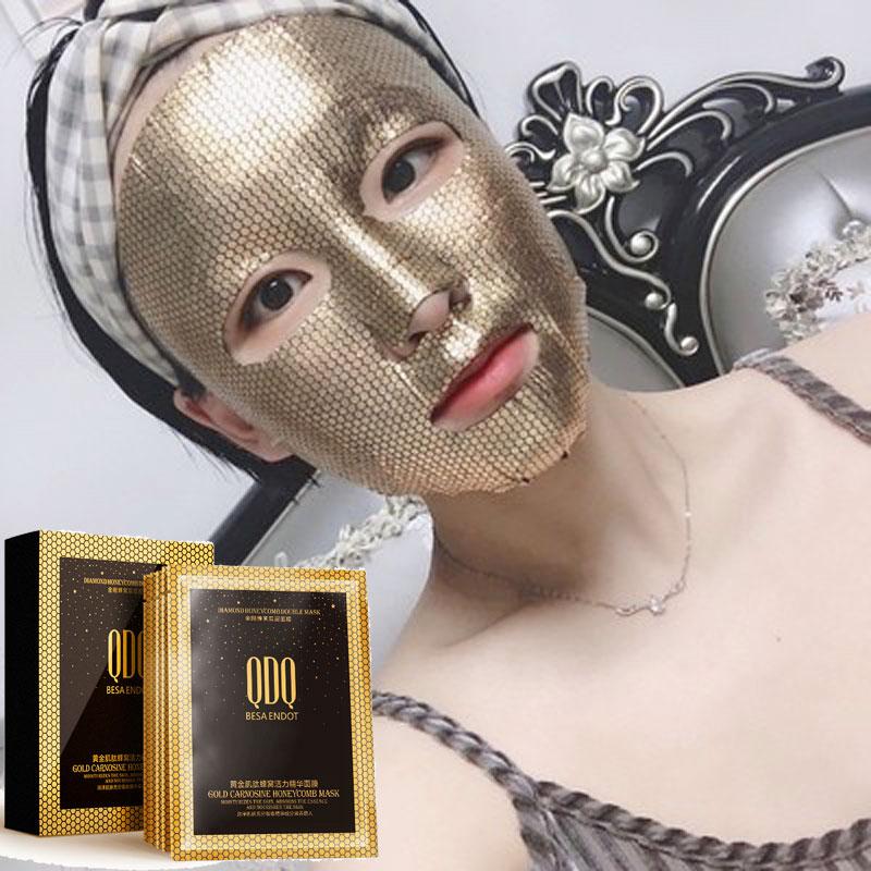 24k Gold Facial Mask Carnosine Honeycomb Face Mask Essence Sheet Mask Brightens Anti Aging Moisturizing Mask