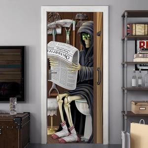 Image 4 - Halloween porte autocollants verre fenêtre autocollant salle de bain papier peint horreur effrayant porte autocollant accessoires de fête