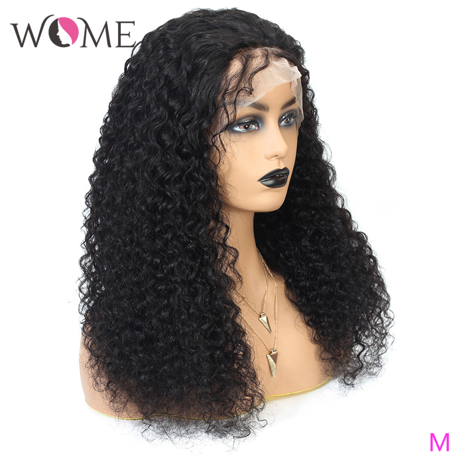 WOME Brazilian Kinky Curly Hair Wigs 360 Lace Frontal Human Hair Wigs Natural Color 8