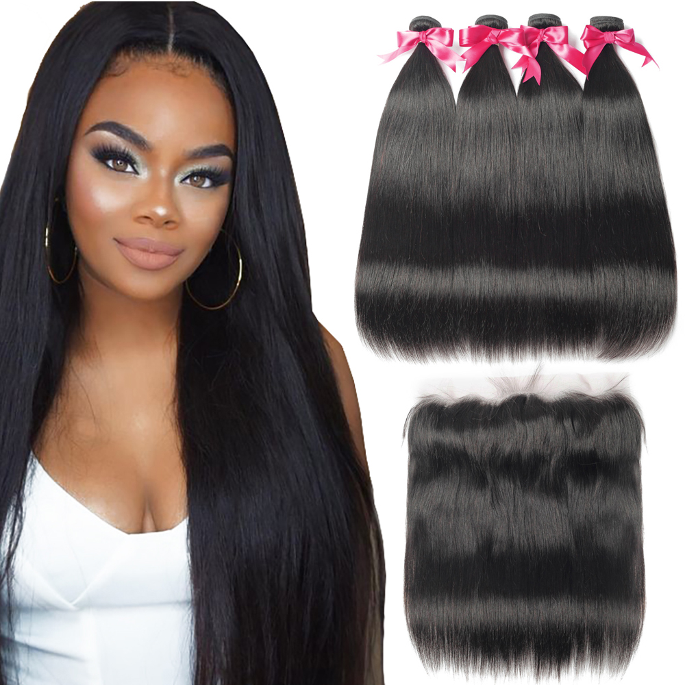 Straight Hair Bundles With Frontal Lace Closure Brazilian Hair Weave Bundles Long  26 28 30 Inch Human Hair Bundles With Closure