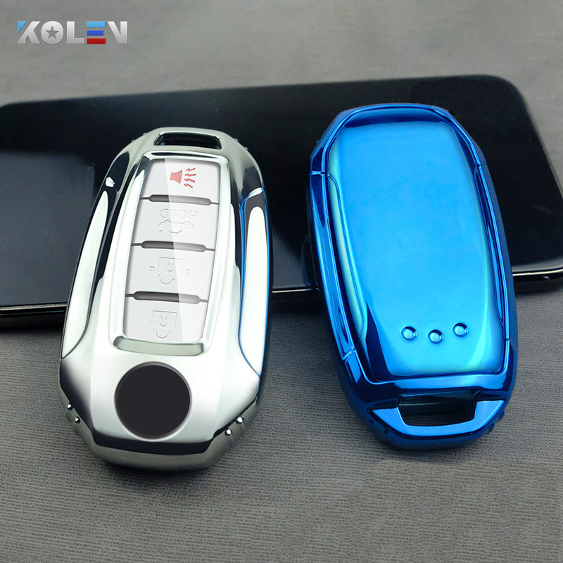 RUNZUIE Silicone Keyless Entry Remote Key Fob Cover Case Protector Fit for Infiniti JX35 QX60 QX80 Q50 Black with Red 5 Buttons