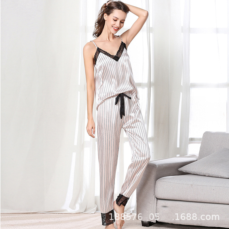 Woman Sexy  Lace V Lead Stripe Camisole Trousers Set Pajamas Loose Comfortable Satin Sleepwear