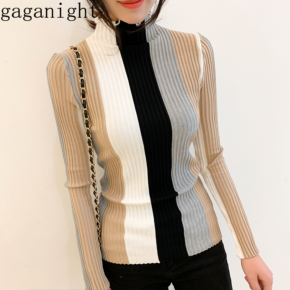 Gaganight Casual Striped Women Sweater Bodycon Long Sleeve Turtle Neck Pullover Knitted Patchwork Retro Korean Jumper