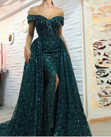 Sparkling Sequined Mermaid Dresses Evening Wear with Long Overskirts Side Split Off Shoulder Prom Dresses Pageant Party Gowns