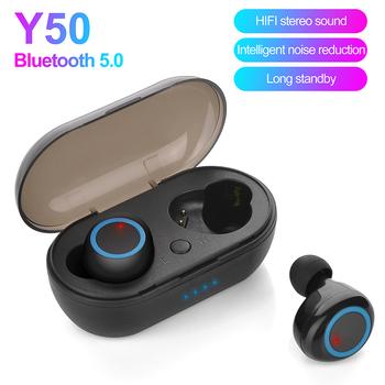 Nowy Y50 TWS słuchawki słuchawki bezprzewodowe z Bluetooth słuchawki Stereo 5 0 bezprzewodowe słuchawki z mikrofonem dla wszystkich smartfonów tanie i dobre opinie HATOSTEPED douszne Dynamiczny CN (pochodzenie) wireless 123dB Do gier wideo Zwykłe słuchawki do telefonu komórkowego