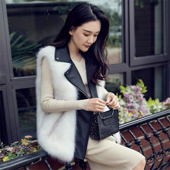 2021 New 100% Real Fox Fur Vest Sheepskin Autumn Winter Women Whole Skin Natural Fox Fur Waistcoat Gilet Coat Sleeveless Jacket image