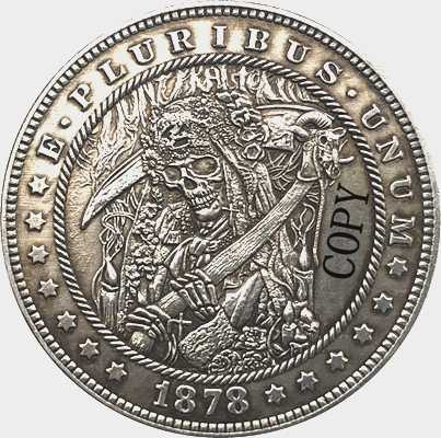 Hobo Nikkel 1878-CC Vs Morgan Dollar Munt Copy Type 162