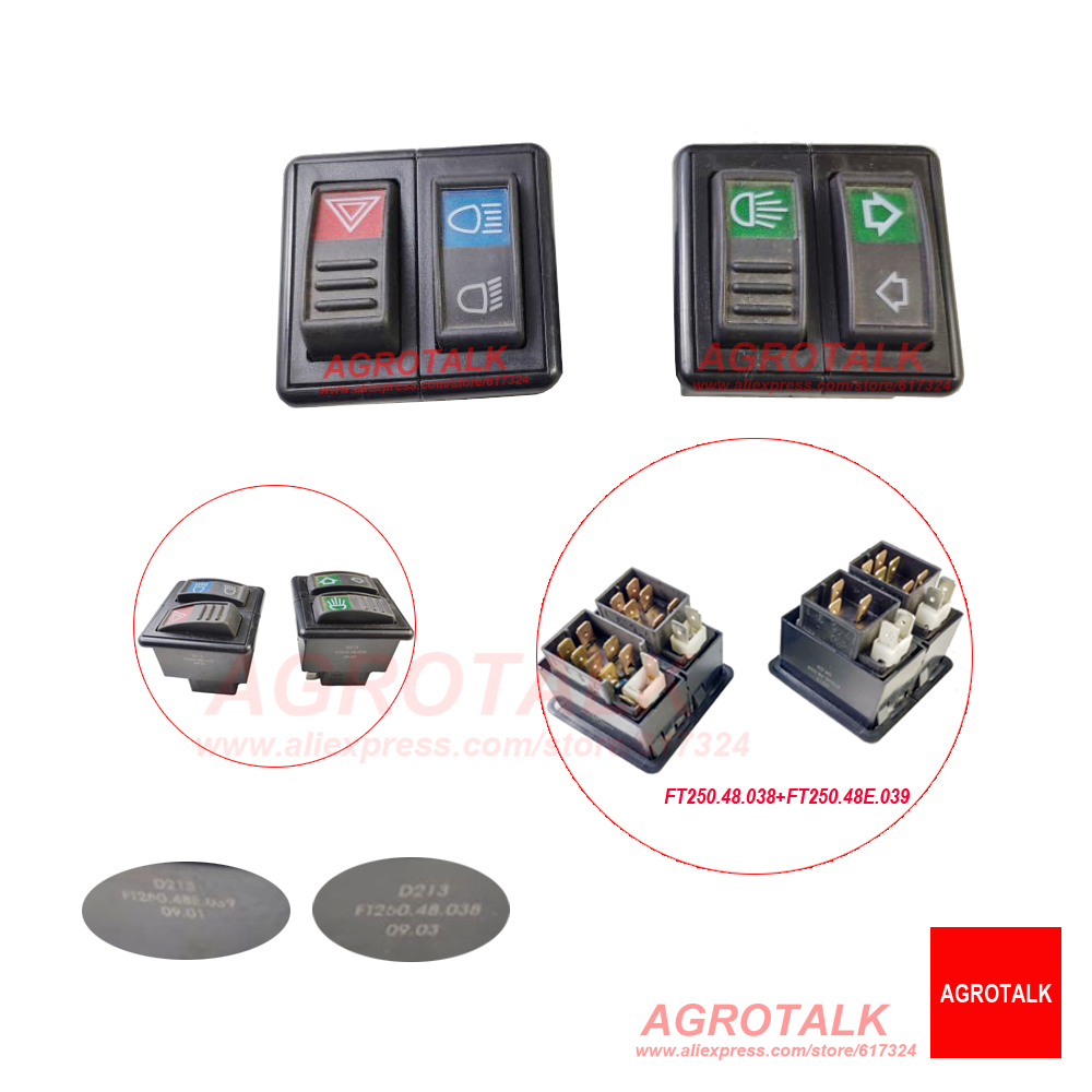 Set Of Switches For Foton Lovol FT250 TE254 Tractor, Part Code: FT250.48.038 + FT250.48E.039