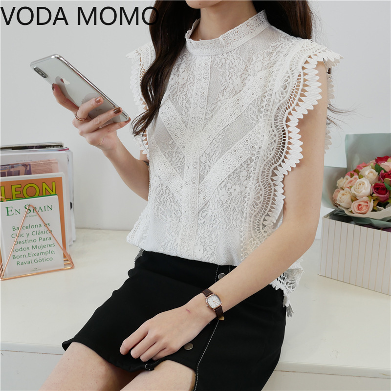 summer sleeveless ruffless women's shirt blouse for women blusas womens tops and blouses lace sexy shirts ladie's top plus size Women Women's Blouses Women's Clothings
