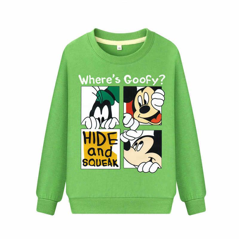 Dos desenhos animados de mickey mouse Meninos Hoodies Camisolas para Crianças Pequenas Roupas 2-8Years Outono Crianças Camisas de Manga Longa de Algodão
