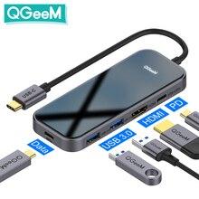 QGeeM USB C Hub for Macbook Pro متعدد USB 3.1 Hub Type C 3.0 Hub HDMI PD محول for iPad Pro OTG الفاصل شحن USB C Dock