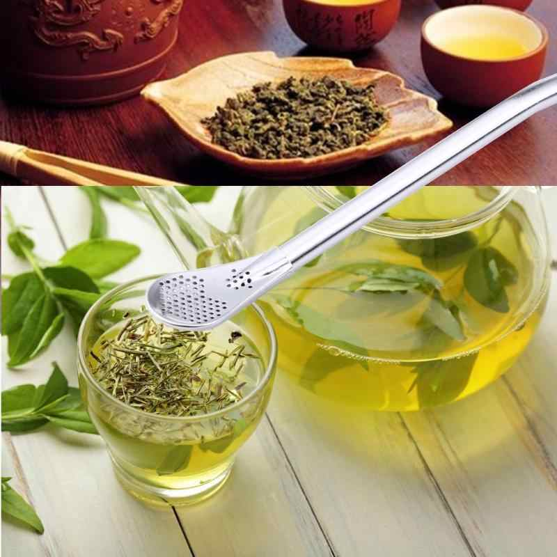Fashion Stainless Steel Drinking Straw Tea Filter Spoon Yerba Mate Tea Straws Bombilla Gourd Reusable Tea Tools Bar Accessories