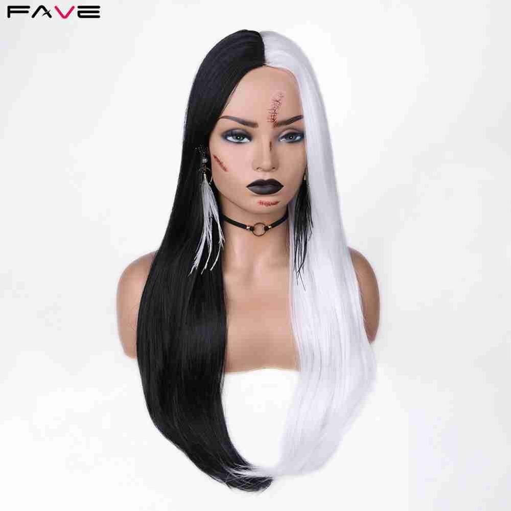 FAVE-pelucas sintéticas de fibra de alta temperatura, pelo liso medio largo, negro/blanco, Cosplay de Halloween, disfraz de Carnaval para mujer