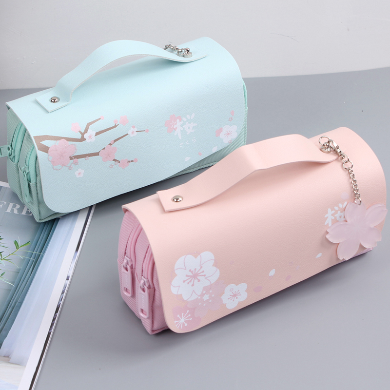 Sakura Pencil Bag PU Leather Pen Case Kawaii Stationery Pen Pouch For School Girl Sweet Pencil Holder Bag Pen Box Flowers Gift B