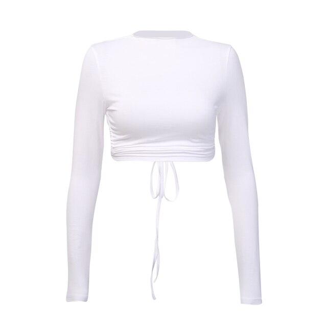 Camiseta Sexy Harajuku con espalda abierta para mujer, Top de manga larga, Tops recortados para mujeres, camiseta informal de verano para mujer, camiseta blanca a la moda 2019 4