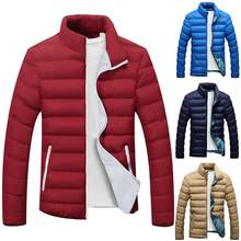 Plus Size Men Solid Color Zip Stand Collar Long Sleeve Jacket Cotton Padded Coat(China)