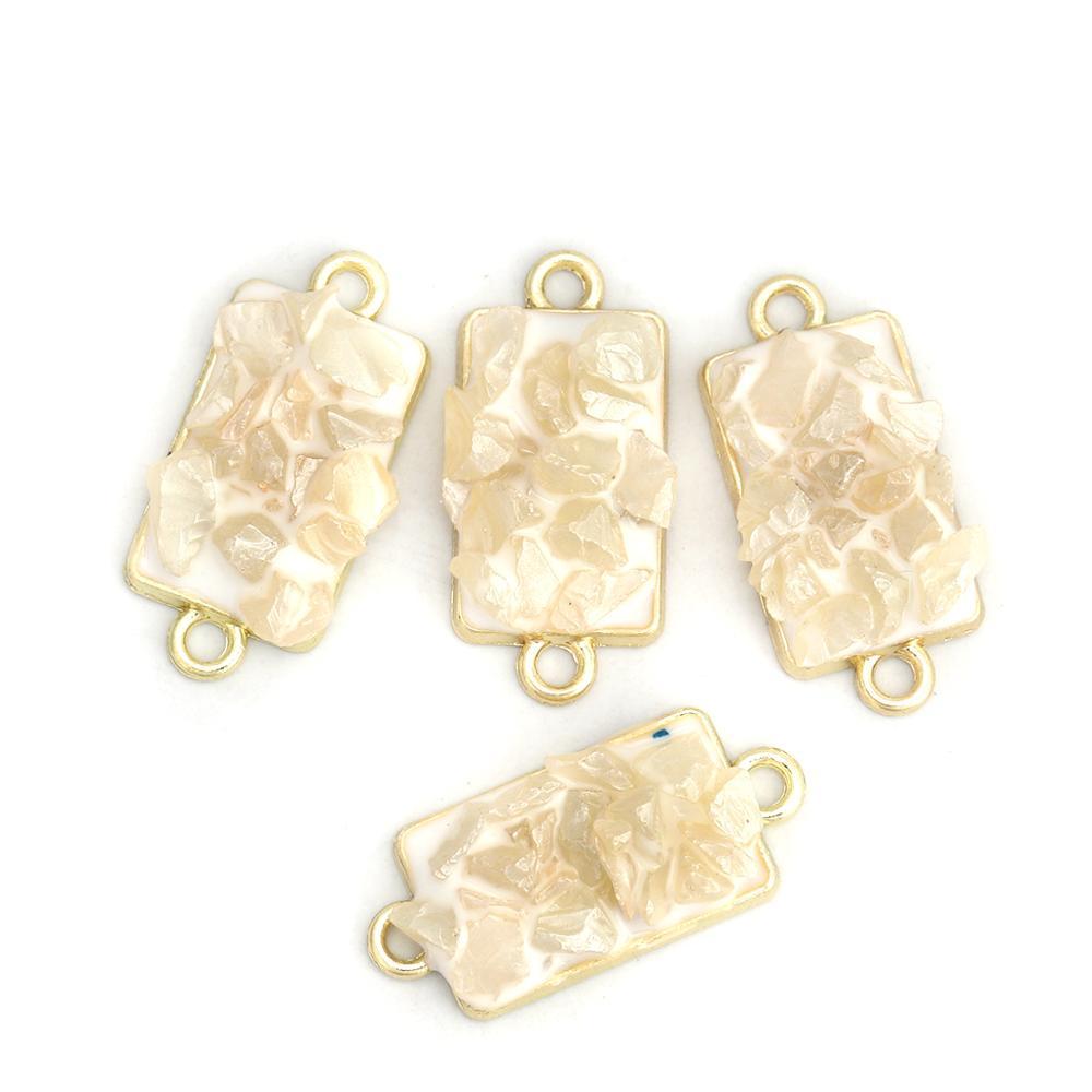 8Season Zinc Based Alloy & Stone Connectors Rectangle Gold Color White Enamel DIY Fashion Jewelry Findings 24mm X 11mm, 10 PCs