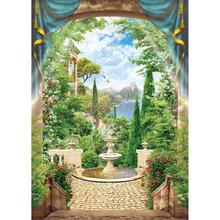 Trees Flowers Fountain Scenic Photo Backdrop Vinyl Cloth Backgrounds for Children Baby Portrait Photophone Photography Props