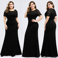 Sparkle Lace Evening Dresses Long Queen Abby Mermaid O Neck Floor length Elegant Shinny Formal Gowns For Party Plus Size