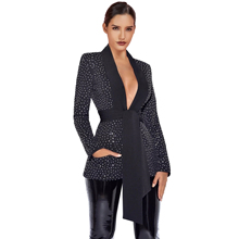 Ocstrade Black V Neck Long Sleeve Mini Tie Rhinestone Bodycon Jacket FLY19245-Black