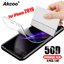 3 Pieces Akcoo 50D Hydrogel Film for iPhone 11 Pro  screen protector easy to instal 6s 7 8 Plus XR XS Max film