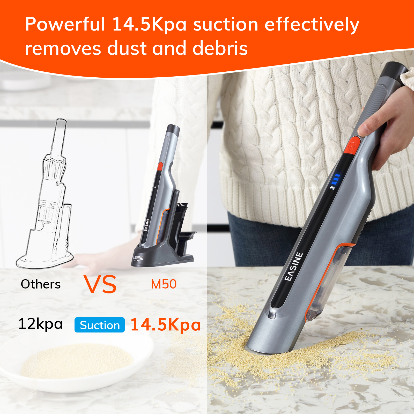 EASINE by ILIFE M50 Handheld Car Vacuum Cleaner – 14,500Pa Powerful Suction,  Type-C & USB Charging, 2 Hours Fast Charge 3