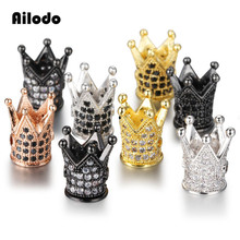 Ailodo 3Pcs/Lot CZ Crown Beads DIY Copper Metal Micro Pave Cubic Zirconia Spacer for Beaded Men Bracelet LD378