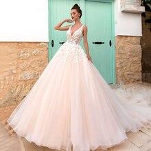 Платье свадебное кружевное с открытой спиной и v образным вырезом
