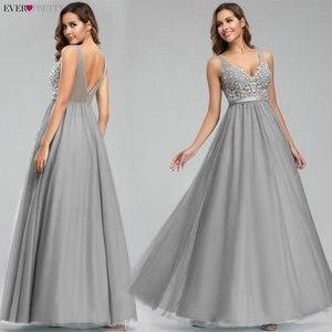 Image 4 - Sempre bonito tule vestidos de dama de honra das mulheres com decote em v apliques elegantes vestidos longos para festa de casamento ep00930 vestidos de madrinha
