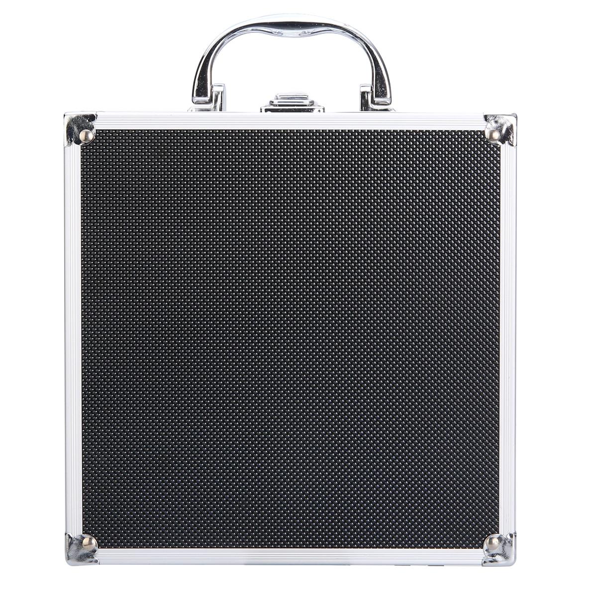 Black Aluminum Alloy Tool Box Case Handheld Tool Storage Suitcase Box Anti Crash+Sponge Durable Flight Case Organizer Potable