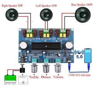 Image 2 - XH A305 Bluetooth 5.0 Audio Stereo Digital Power Amplifier Board TPA3116D2 50Wx2+100W 2.1 Channel Bass Subwoofer AMP Module