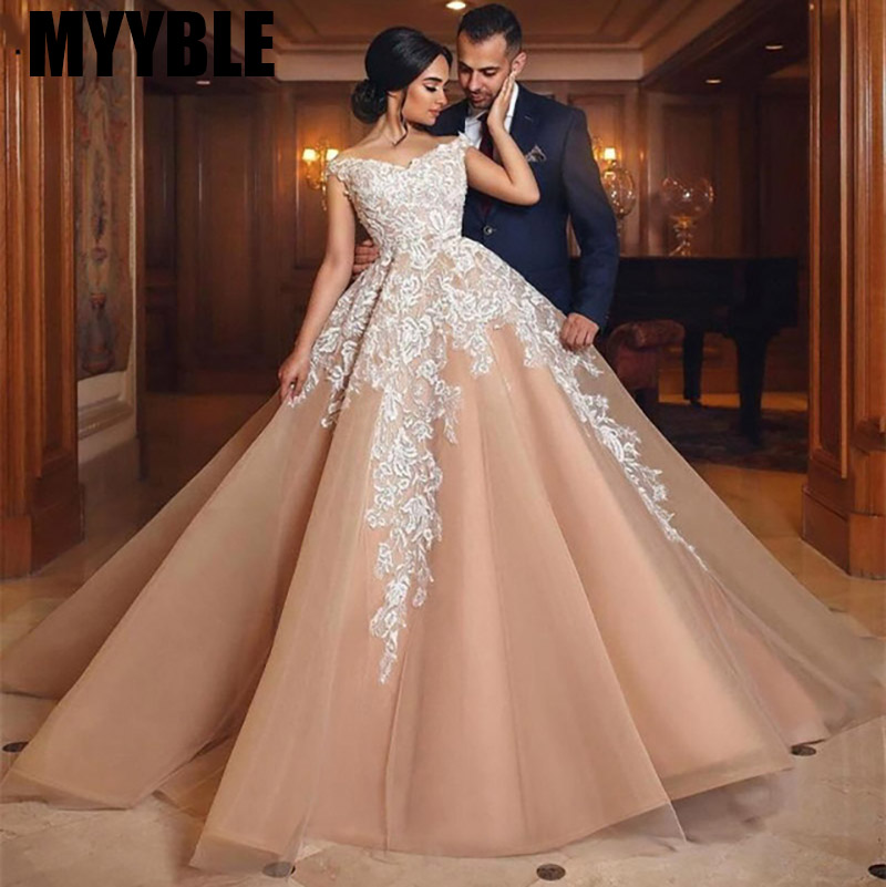 MYYBLE Vintage Ball Gown Wedding Dresses 2020 Champange Off Shoulder Lace Up Back Turkey Bridal Gown Train Vestidos De Noiva